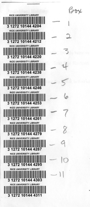 In the ex&le above the only barcodes added would be Box 1-11. Box 12 with Barcode #31272101444311 would not be added to the record.  sc 1 st  Rice University C&us Wiki & WRC Provisional Records - Cataloging and Metadata Services Wiki ... Aboutintivar.Com